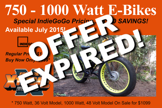 IndieGoGo Special Pricing On Xtreme Fat Tire Electric Bike